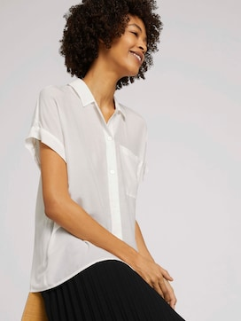 Shirt blouse met korte mouwen en borstzak - 5 - Mine to five