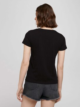 T-shirt van biologisch katoen met V-hals - 2 - TOM TAILOR Denim
