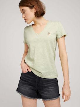 T-shirt van biologisch katoen met V-hals - 5 - TOM TAILOR Denim