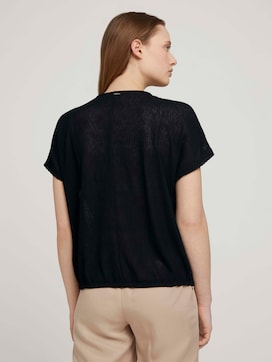 Textured t-shirt with a drawstring - 2 - TOM TAILOR Denim