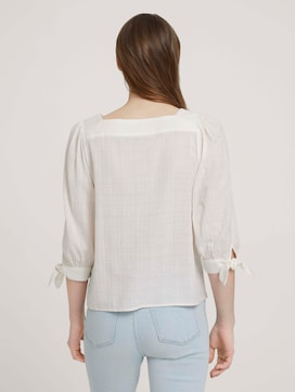 Blouse with a carree neckline made with organic cotton - 2 - TOM TAILOR Denim