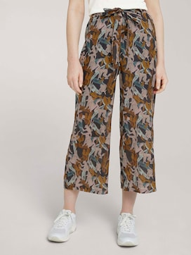 Patterned culotte trousers with a belt - 1 - TOM TAILOR Denim