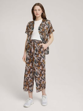 Patterned culotte trousers with a belt - 3 - TOM TAILOR Denim