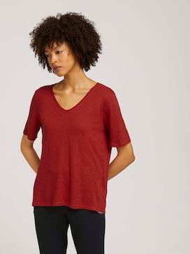 Linnen T-shirt met V-hals - 5 - Mine to five