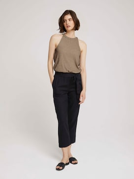 Tapered linen fabric trousers made with linen - 3 - TOM TAILOR Denim