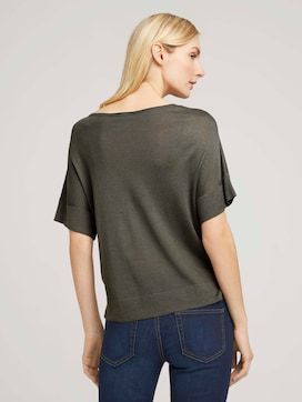 Gestricktes T-Shirt mit kurzen Schlitzen - 2 - TOM TAILOR