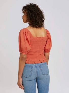Ruffled blouse with balloon sleeves made of organic cotton - 2 - TOM TAILOR Denim