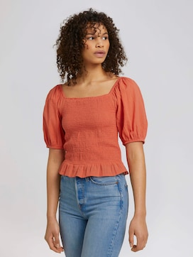 Ruffled blouse with balloon sleeves made of organic cotton - 5 - TOM TAILOR Denim