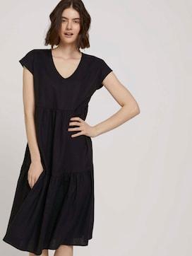 Short-sleeved flounce midi dress made of linen - 5 - TOM TAILOR Denim