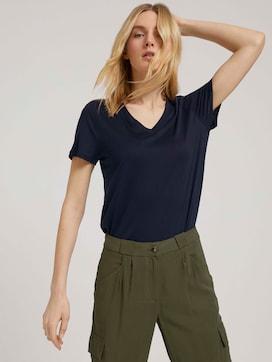 Basic T-Shirt mit Lyocell - 5 - TOM TAILOR