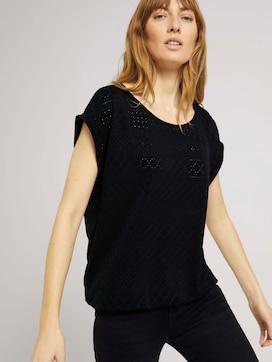 Elastic t-shirt with a textured pattern - 5 - TOM TAILOR