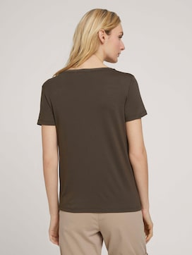 T-shirt with ribbed cuffs - 2 - TOM TAILOR