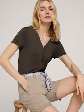 T-shirt with ribbed cuffs - 5 - TOM TAILOR