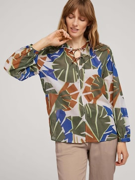 Patterned blouse with tie details - 5 - TOM TAILOR
