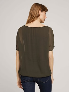 Flowing blouse in a material mix - 2 - TOM TAILOR