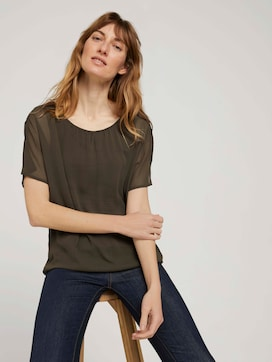 Flowing blouse in a material mix - 5 - TOM TAILOR