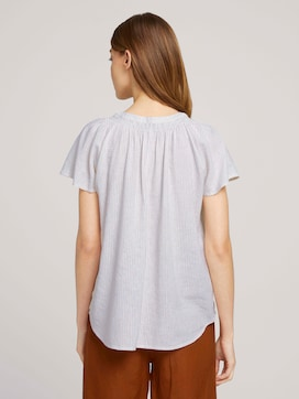 Short-sleeved blouse with linen - 2 - TOM TAILOR