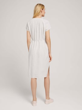 Gathered midi dress with linen - 2 - TOM TAILOR
