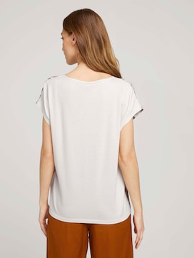 Patterned t-shirt in a material mix - 2 - TOM TAILOR