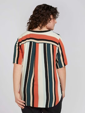 striped blouse with a slanted tab - 2 - My True Me