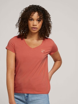 Embroidered T-shirt with organic cotton - 5 - TOM TAILOR Denim