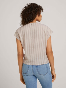 Short-sleeved blouse with knotting and with linen - 2 - TOM TAILOR Denim