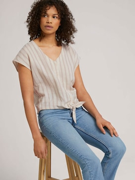 Short-sleeved blouse with knotting and with linen - 5 - TOM TAILOR Denim