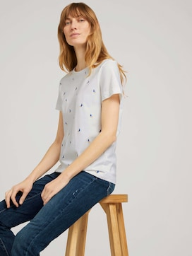 Embroidered t-shirt with organic cotton - 5 - TOM TAILOR