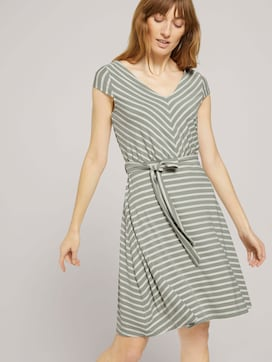 Gemustertes Jerseykleid mit Bindegürtel - 5 - TOM TAILOR