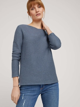 long-sleeved shirt with an ottoman texture made with organic cotton  - 5 - TOM TAILOR