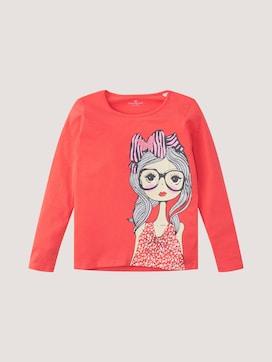 Shirt met lange mouwen met print en glitter - 7 - TOM TAILOR