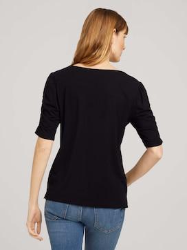 T-Shirt mit gerafften Ärmeln - 2 - TOM TAILOR