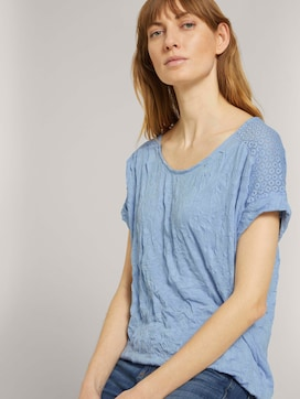 T-shirt with lace in a creased look - 5 - TOM TAILOR