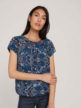 Patterned short-sleeved blouse with LENZING (TM) ECOVERO (TM) - 5 - TOM TAILOR
