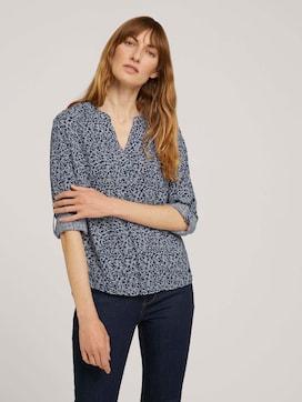 Patterned henley blouse with LENZING (TM) ECOVERO (TM) - 5 - TOM TAILOR