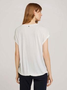 Gemustertes T-Shirt im Materialmix - 2 - TOM TAILOR