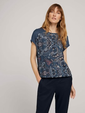 Patterned T-shirt in a material mix - 5 - TOM TAILOR