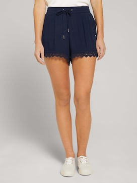 Relaxed shorts with lace - 1 - TOM TAILOR Denim