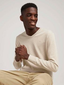 Melierter Pullover mit V-Ausschnitt - 5 - TOM TAILOR