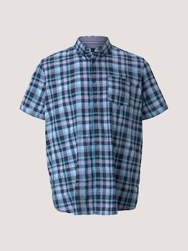 checkered short-sleeved shirt - 7 - Men Plus