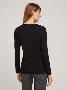 Logo print long-sleeved shirt with organic cotton - 2 - TOM TAILOR