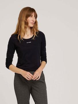 Logo print long-sleeved shirt with organic cotton - 5 - TOM TAILOR
