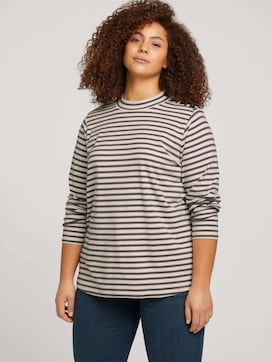 Curvy - long-sleeved shirt with a short stand-up collar - 5 - My True Me