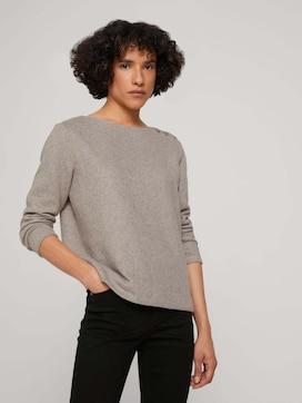 Ripp Sweatshirt mit Knopfleiste - 5 - TOM TAILOR