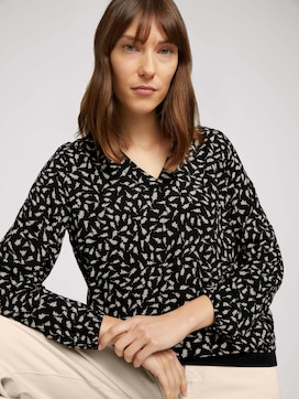 Patterned blouse with ribbed cuffs - 5 - TOM TAILOR
