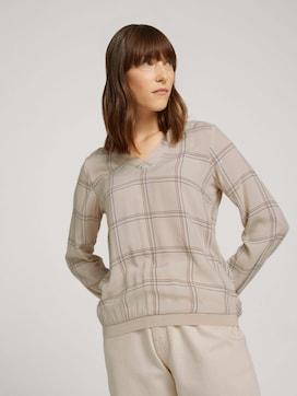 Gedessineerde blouse met geribde manchetten - 5 - TOM TAILOR