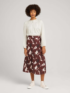 Midi pleated skirt with a pattern - 3 - Mine to five