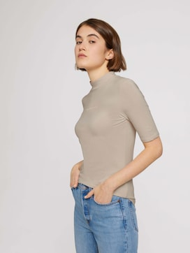 T-shirt with a stand-up collar made of sustainable cotton - 5 - TOM TAILOR Denim
