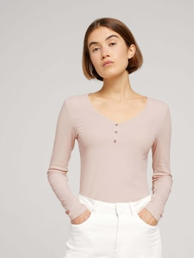 Long-sleeved shirt with a V-neckline made of sustainable cotton - 5 - TOM TAILOR Denim