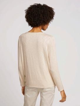 Mottled long-sleeved shirt with knot details - 2 - TOM TAILOR